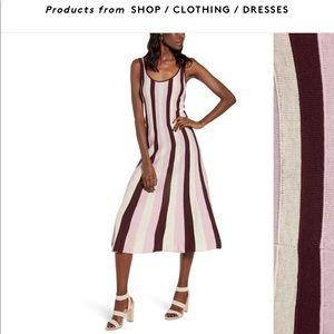 Stripe fit & flare sweater dress